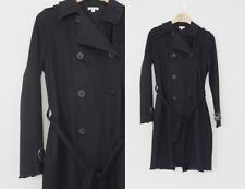 Beautiful Ascension Black Soft Cotton Embroidered Bead Detail Trench Coat 4 S