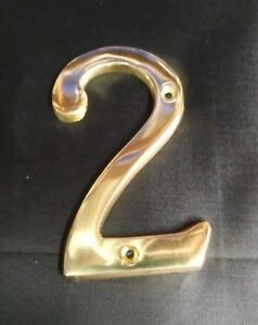 """Polished Brass House 4"""" Inch High Address Numbers 0-9 Letter A-F"""