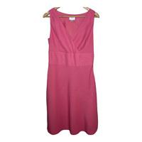 Ann Taylor Loft Womens Sleeveless A Line Dress V Neck Pink Linen Blend Size 10
