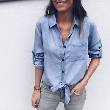 Fashion Women Long Sleeve Denim Jeans Blouse Tops Ladies Button Cardigan T Shirt