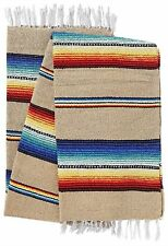 Old El Paso Blanket Throw Sarape Bed Cover Tan Mexico Beach Yoga Mat Travel Camp