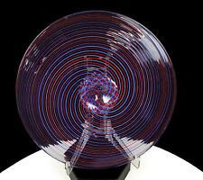 "MURANO ITALY ART GLASS FILIGRANA RED BLUE SWIRL FOOTED 8"" TIDBIT TRAY"