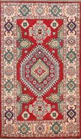 Geometric Vegetable Dye Kazak Oriental Hand-Knotted Area Rug Wool Carpet 3x4 ft