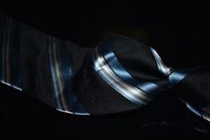 Giorgio Armani White Label Black Silver Blue Satin Multi Stripe Silk Tie Italy