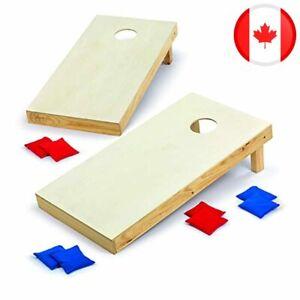 Backyard Champs Cornhole Outdoor Game: 2 Regulation Wood Cornhole Boards and 8 B