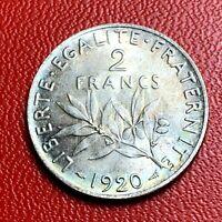 #3791 - RARE - 2 francs 1920 Semeuse Argent SUP/SPL - FACTURE
