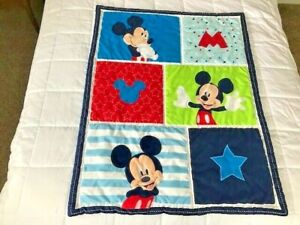 """Disney Mickey Mouse Baby Crib Blanket Comforter Two Sided 33"""" X 43"""""""