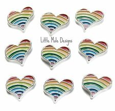 Silver 'Rainbow' Floating Heart Charm for Living Memory Locket Necklace Pendant
