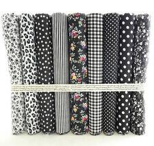 Fat Quarters Quilting Fabric 9 Bundles for Patchwork sewing Black Floral Cotton