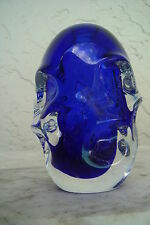JAN BERANEK for SKRDLOVICE ART GLASS VASE - ENCASED COBALT BLUE- CZECH 60'S