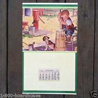 Original 1941 POLICEMAN Promotional Calendar LINE OF DUTY Cop Little Girl NOS