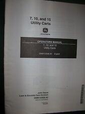John Deere 7 10 15 Utility Cart OPERATORS MANUAL 122926