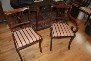 8 Reproduction Antique Dining Chairs, 2 Carver + 6 Normal