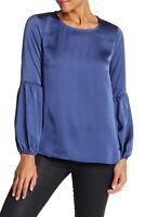 Bobeau 164075 Women's Bubble Sleeve Satin Blue Denim Top Size X-Small