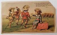 P J Powers Clothing Department Store Soap Boys Playing Cowboy Indian Trade Card