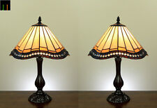 """Pair - 12"""" Tiffany Vintage Stained Glass Bedside Side Table Lamp Leadlight Light"""