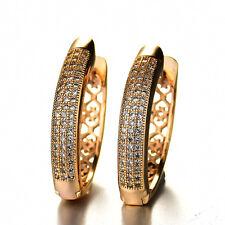 HUCHE Heart Design Lab Sapphire Diamond Gems Women Hoop Jewelry Earrings Studs