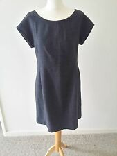 Gap Womens Size 12 Grey Check Shift Dress Wool Business Work wear Cap Sleeves