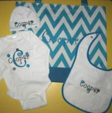 Personalized Baby CREEPER T Shirt, HAT & BIB Outfit & Chevron TOTE BAG Gift Set
