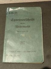 HDv 475 Sportvorschrift für die Wehrmacht Heer WH MDv 496 vom 23. Januar 1934
