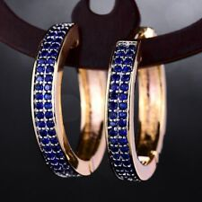 18ct Yellow or White Gold Filled Sapphire/Ruby Hoop Earrings Women's 3 Colours