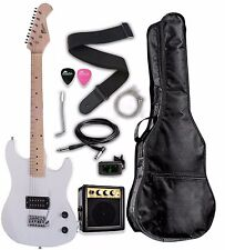 "Raptor 3/4 Scale 36"" Kid's Starter Electric Guitar Pack WHITE w/ FREE TUNER"