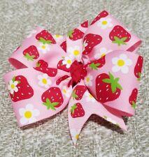 4inches pinwheel strawberry hair bow non slip alligator clip