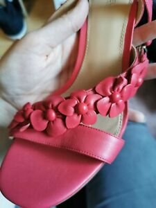 🌸🌺Michael Kors flower Ankle Strap Tricia cutout Heels leather Pink UK7 US9 🌸