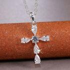 Cross Jewelry Cubic Zirconia Elegant Women's Party 925 Silver Necklaces Pendants