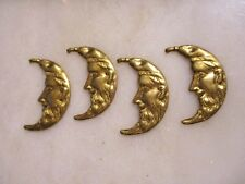 Vintage Old Man In The Moon Crescent Shape Jewelry/Earring Components, 4 Pcs.