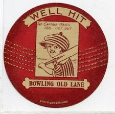 (Gn028-100) J.Baines Ladies Cricket Ball card, BOWLING OLD LANE, Red 1921 EX