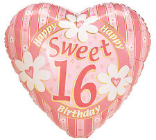 """Sweet 16 Party 17"""" Foil Balloon Heart Shaped Floral Happy Birthday Party 3 Pack"""