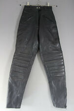 JTS BLACK LEATHER BIKER TROUSERS SIZE 8: WAIST 24 INCHES/INSIDE LEG 30 INCHES