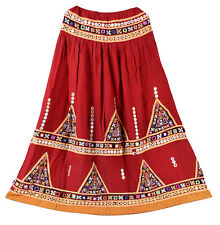 Banjara Embroidery Long Skirt Indian Vintage Hippie Retro Women Skater Bohemian