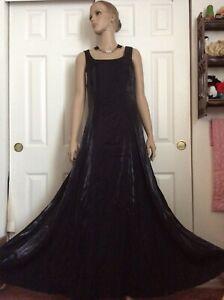 Vintage Rhinestone Chocker Black Evening Maxi Dress Special Occasion Sz.L