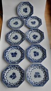 Chine - Lot de 9 assiettes octogonales - Porcelaine - XVIIIème