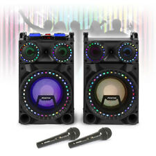 "VS-10"" Powered Bluetooth Disco Speakers Karaoke Party DJ Lights with Microphones"