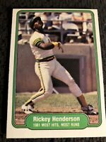 1982 Fleer Ricky Henderson EX-MT #643 Baseball Card HOF 1981 Most Hits & Runs