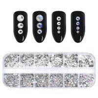 12 Grid/Box 3D Clear Flat Glitter Rhinestone Mixed Nail Art Design Manicure DIY