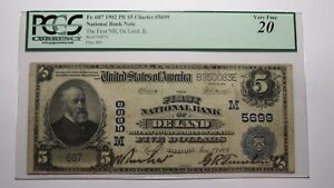 $5 1902 De Land Illinois IL National Currency Bank Note Bill! Ch #5699 VF20 PCGS