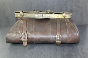 Vintage Arzttasche, Echtleder, 32 x 18 cm, braun