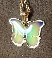 Beautiful Colour Changing Small 2cm Butterfly Pendant & Old Chain 44cm