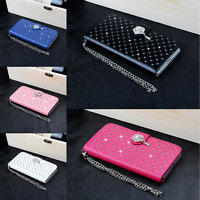 Luxury Bling Diamond Leather Wallet Case Flip Cover For Samsung Galaxy S5
