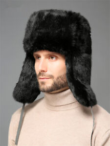 Men Rabbit Hair Fur Hat LeiFeng Hat Winter Warm Outdoor Thickened Ear Protection