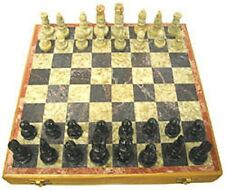 "Soapstone Chess Set 8""x 8"" Hand-carved By Artisans In India Velvet-Lined Box"