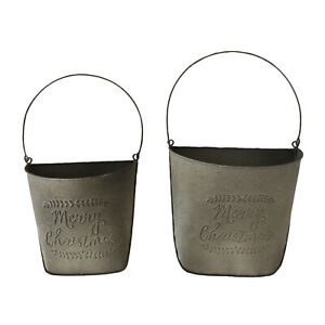 Set of 2 Handmade 'Merry Christmas' Tin Buckets, Suitable for Decoration