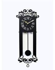 Antique Pendulum Wall Clock Modern Art Design Home Interior Noiseless - Black