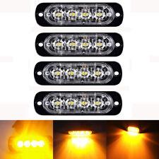 4pcs 4 LED Amber Emergency Flashing Strobe Light Truck Car Recovery Beacon lamp