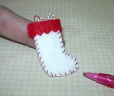 Miniature Felt Christmas Stocking (PLAIN), WHITE w/RED Cuff: DOLLHOUSE 1/12