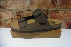 SCHOLL BIOPRINT GERRY NUBUCK TAUPE MENS SLIP ON SANDALS SIZE 44 UK 10 NEW BOXED
